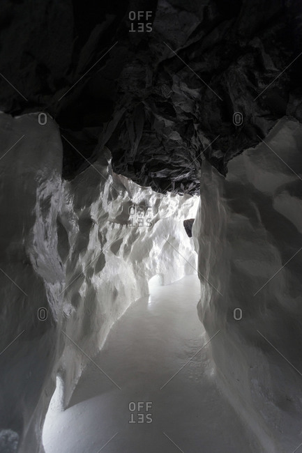 A tunnel cuts through the snow