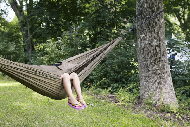 A girl resting in hammock