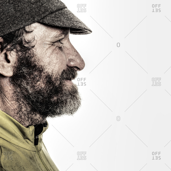 Profile of a bearded cyclist