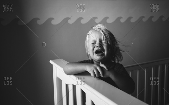 Child crying in his crib