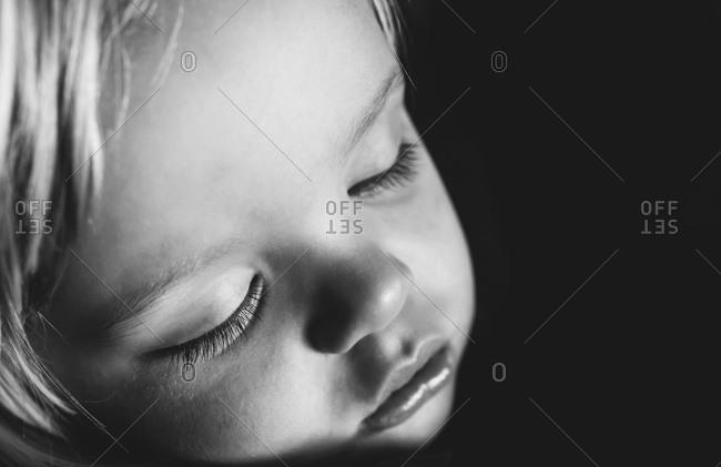 Close up of a sleeping boy