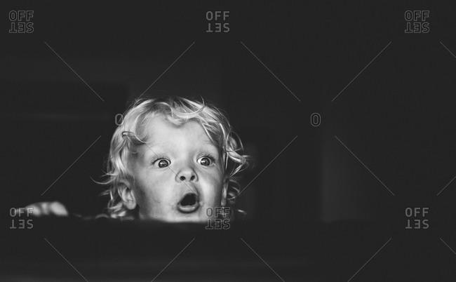 Portrait of a shocked little boy