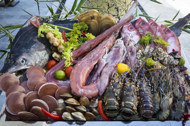 A restaurant in Danang, Vietnam displays fresh seafood