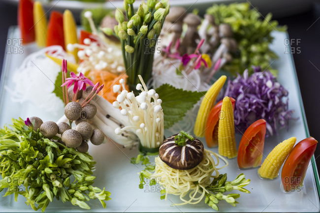 A restaurant in Danang, Vietnam displays vegetables