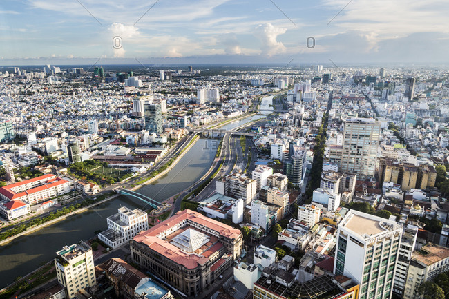 A view over Ho Chi Minh City and one of the river's tributaries