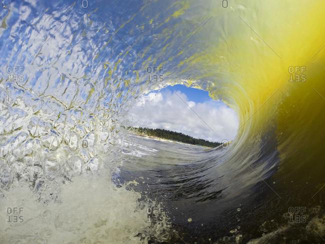 Inside a breaking ocean wave