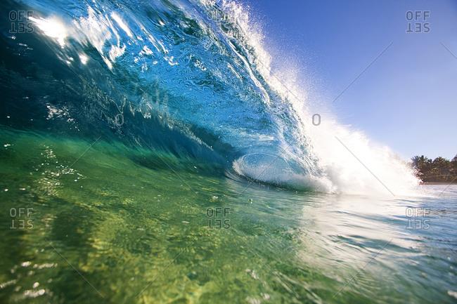 View of an ocean wave barrel