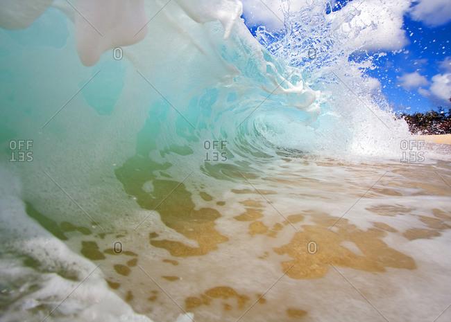 Massive wave breaking on a beach
