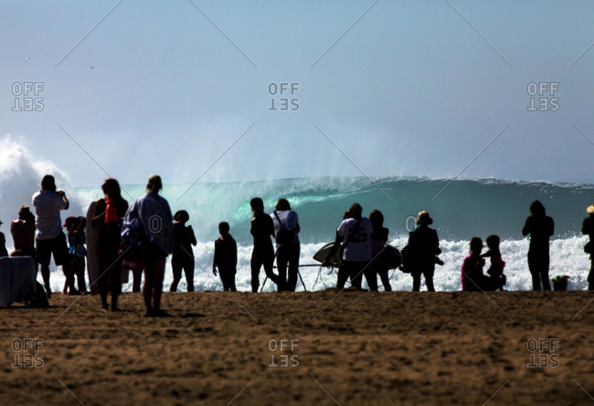 People staring at an ocean wave on a sandy beach