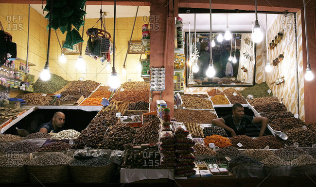 Marrakesh, Morocco - September 29, 2010: Nut and dried fruit stalls in the souk