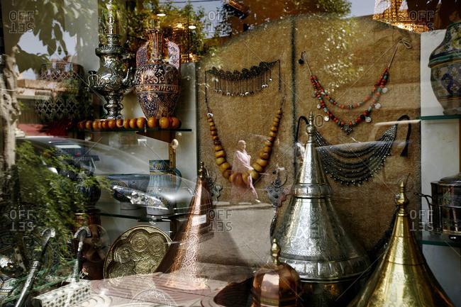 Shop window displaying handicrafts, Marrakesh, Morocco