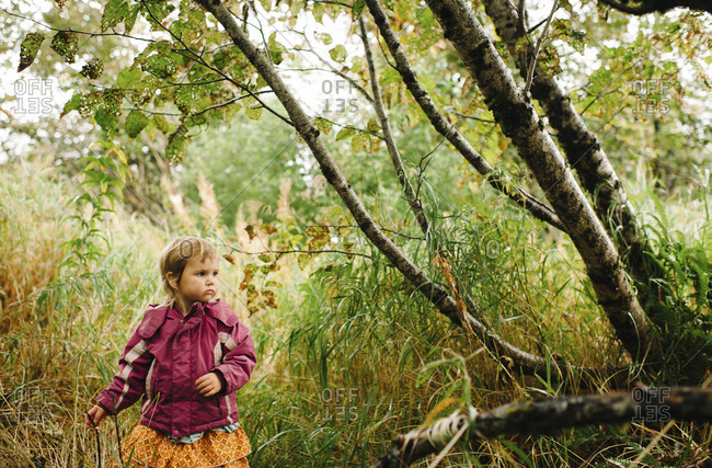 Young girl walking in a forest