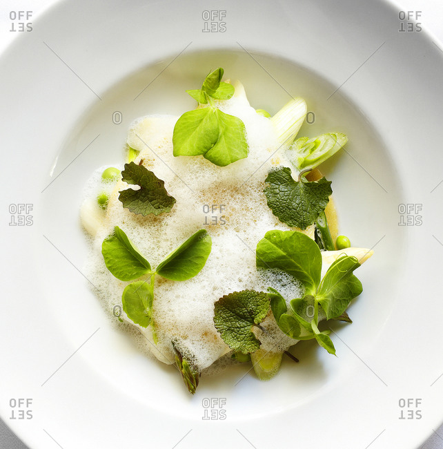 Close up of ravioli with vegetables and herbs