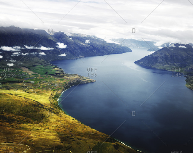 View of Lake Wakatipu and the mountains outside Queenstown, New Zealand