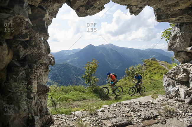Two mountain bikers on the way, Slatnik, Istria, Slovenia