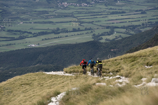 Three mountain bikers on the way downhill, Vipava valley, Istria, Nanos, Slovenia