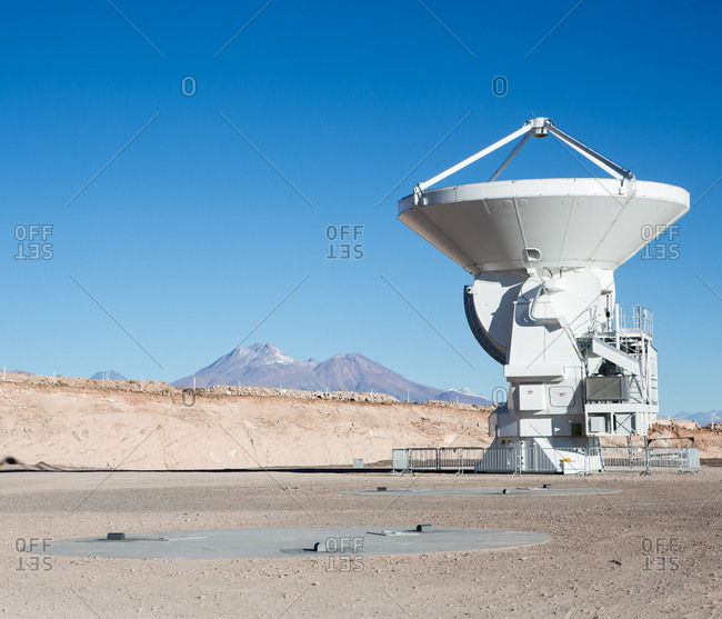 Santiago, Chile - July 10, 2013: One of the Antennas at Atacama Large Millimeter/submillimeter Array (ALMA), Chajnantor Plateau, Atacama, Chile
