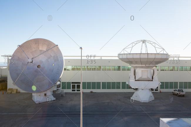 Santiago, Chile - July 10, 2013: Two of the Antennas at Atacama Large Millimeter/submillimeter Array (ALMA), Chajnantor Plateau, Atacama, Chile