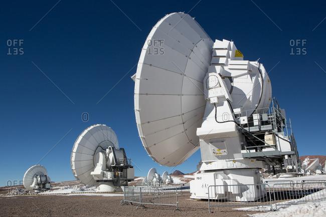 Santiago, Chile - July 10, 2013: Antennas at Atacama Large Millimeter/submillimeter Array (ALMA), Chajnantor Plateau, Atacama, Chile