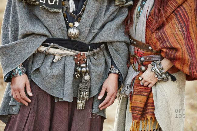 Close up of couple wearing nomadic clothing