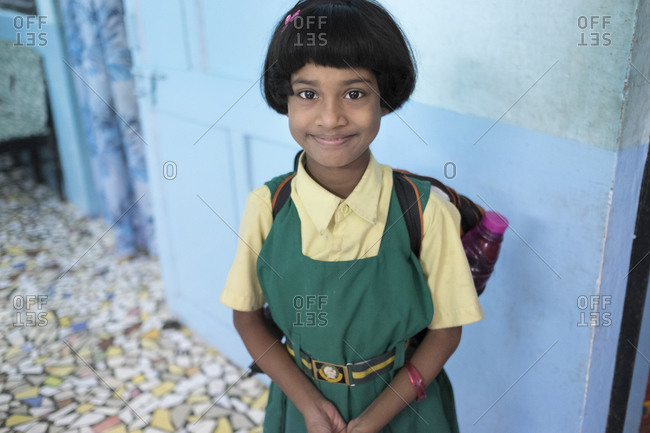 India - July 29, 2014: Portrait of a young schoolgirl