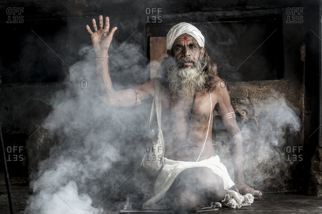 Central India - August 2, 2014: Sadhu focuses on his spiritual practice