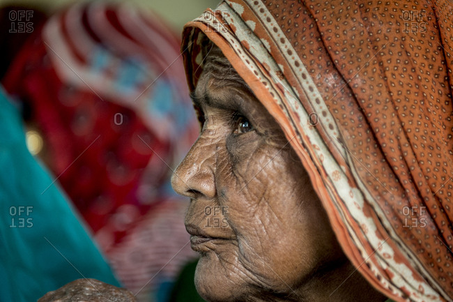 Central India - August 3, 2014: Portrait of an elderly woman