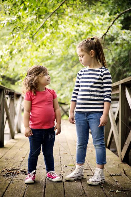 Two little girls standing on footbridge
