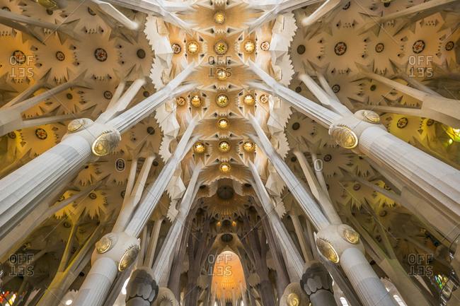 Barcelona, Spain - September 16, 2014: Sagrada Familia church interior