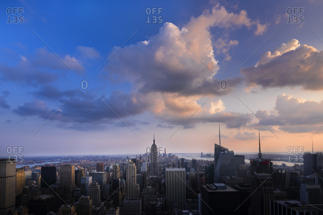 City skyline at dusk, New York