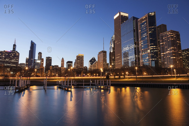 Skyline at dusk seen from marina, Chicago