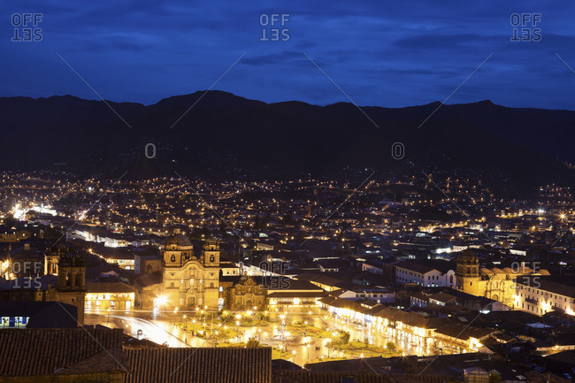 Cityscape at night, aerial view, Peru