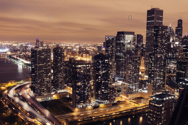 Elevated view of Lake Shore Drive and Chicago architecture at sunset