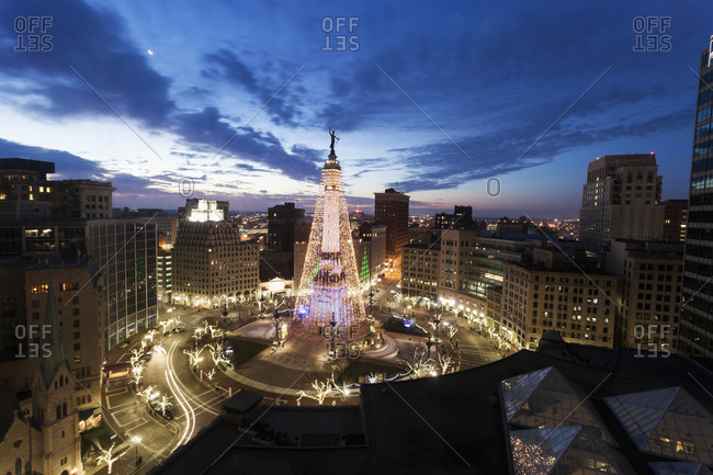 Elevated view of Indiana Soldiers and Sailors Monument , Indianapolis