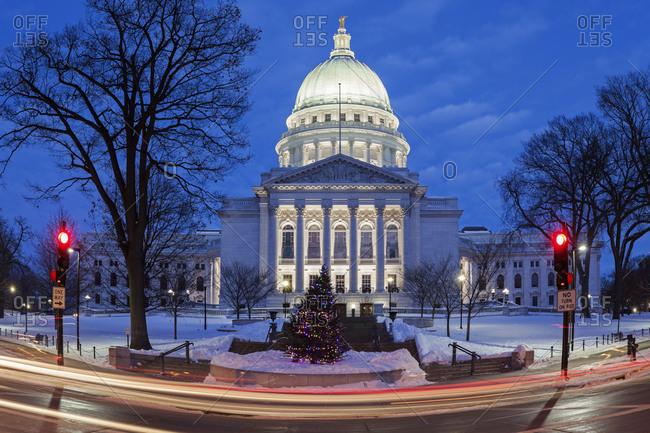 Illuminated State Capitol Building