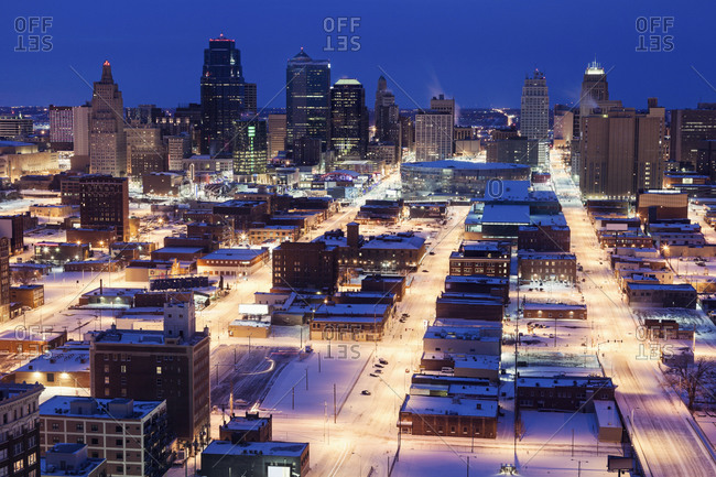 Elevated view of city in winter, Kansas City