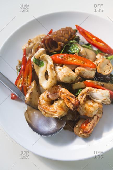 Asian stir-fried seafood dish