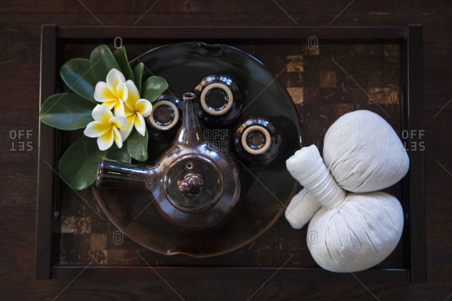 Overhead view of traditional Japanese tea ceremony items