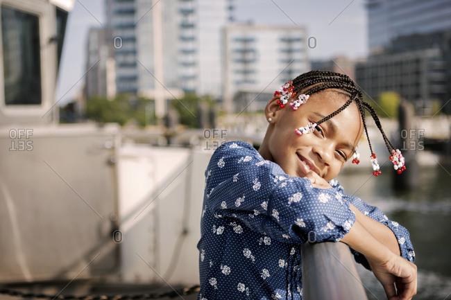 Little girl on the East River ferry, New York