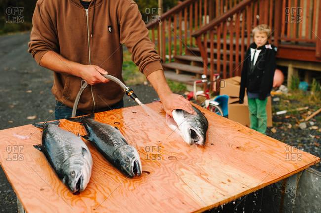 Fresh fish preparing for cooking