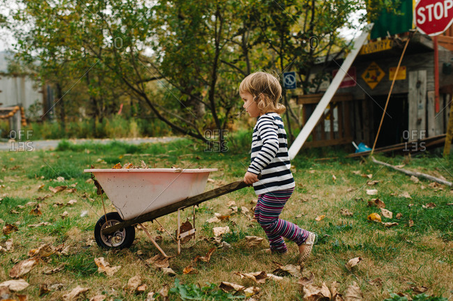 Side view of young girl pushing wheelbarrow in the garden