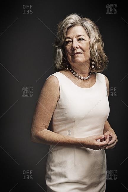 Portrait of stylish elderly woman