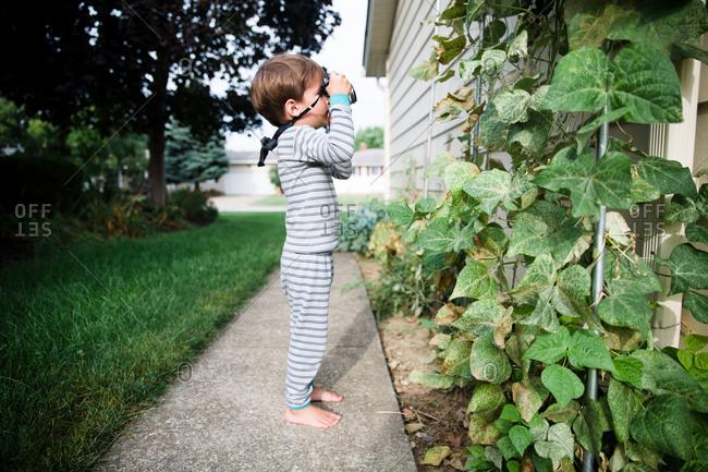 A boy uses a camera outdoors