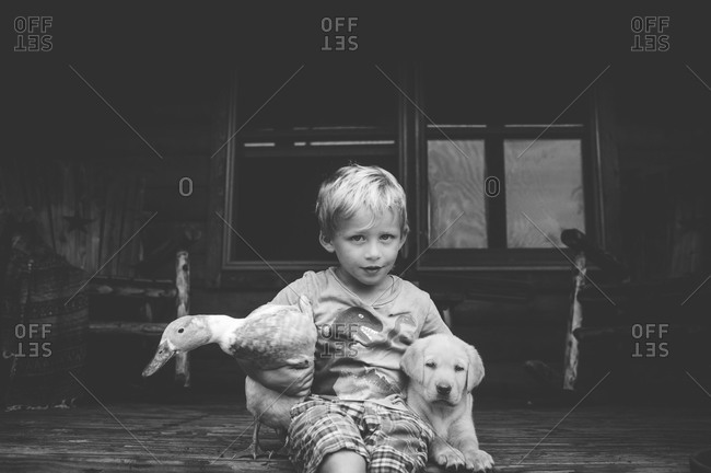 Boy embracing duck and dog