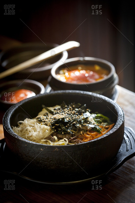 Bibimbab is served in a stone bowl
