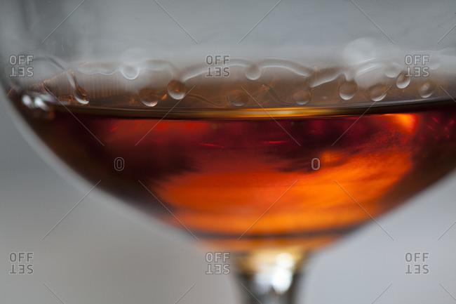 Orange wine from Alaverdi Monastery in the Republic of Georgia sits in a glass