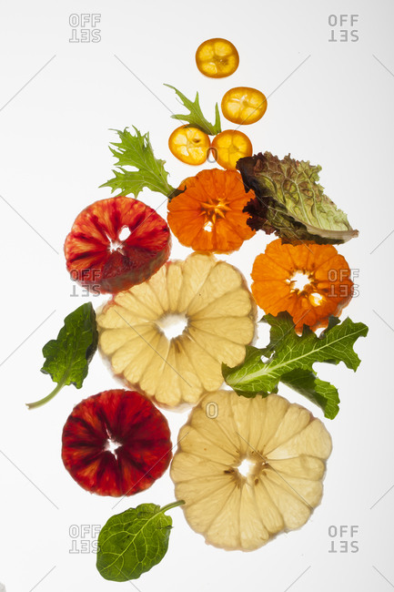Citrus slices lay on a white background