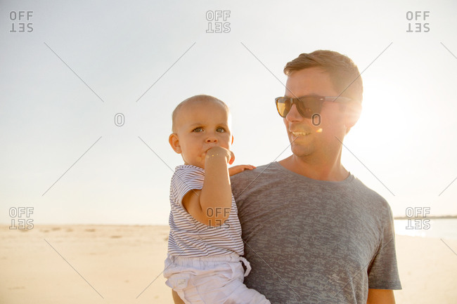 Father holding his son in his arms