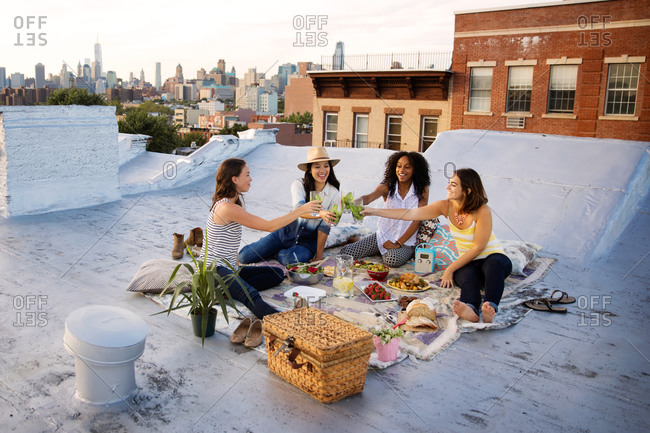 Friends toasting on a rooftop
