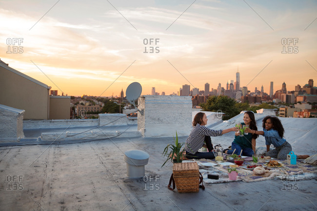 Young women toasting on a rooftop